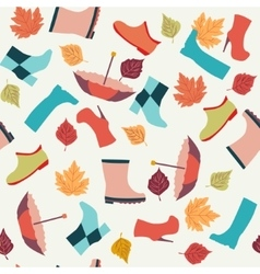 Autumn leaves boots and umbrellas vector