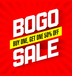 Bogo sale buy one and get one 50 off sale banner vector