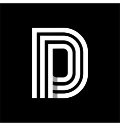 Capital letter d made of three white stripes vector