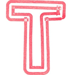 Capital letter t drawing with red marker vector