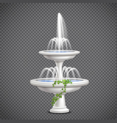 cascade water fountain realistic transparent vector image