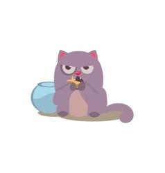 Cat eating golden fish vector