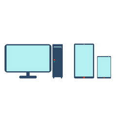 computer mobile phone and tablet icon vector image