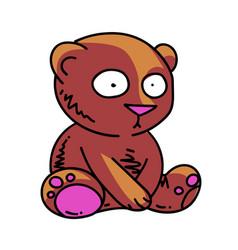Cute little teddy bear cartoon hand drawn image vector
