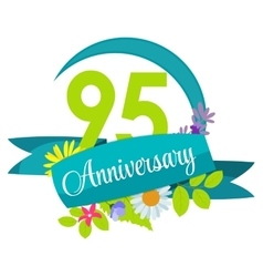 Cute nature flower template 95 years anniversary vector