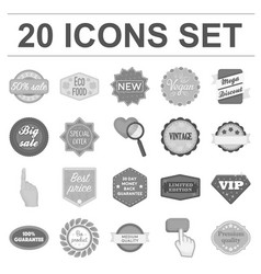 different label monochrome icons in set collection vector image vector image
