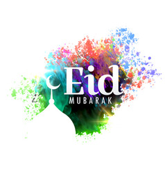 Eid mubarak festival greeting card design with vector