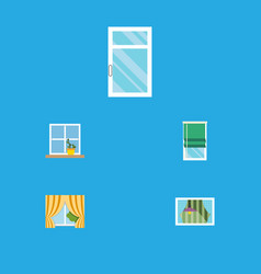 flat icon glass set of clean balcony glass frame vector image