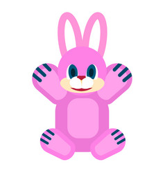 friendly rabbit soft toy isolated vector image vector image