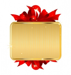 gold tag with bow vector image vector image