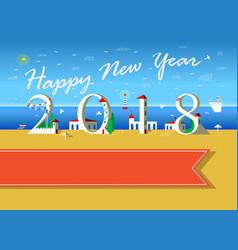 happy new year 2018 summer beach vector image