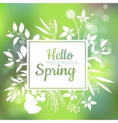 Hello spring green card design with a textured vector