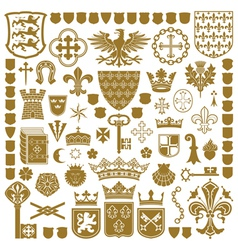 Heraldry symbols and decorations vector