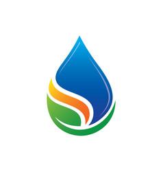 leaf waterdrop eco logo vector image vector image