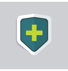 Medical shield icon isolated green cross vector image vector image