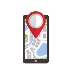 Navigation gps on smartphone with map pointer and vector
