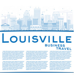 outline louisville skyline with blue buildings vector image