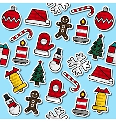 Pattern with colored Christmas elements vector image vector image