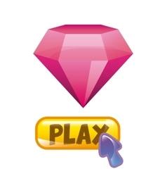 pink diamond icon vector image vector image