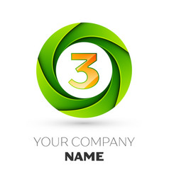 realistic number three logo in the colorful circle vector image vector image