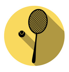 Tennis racquet sign flat black icon with vector