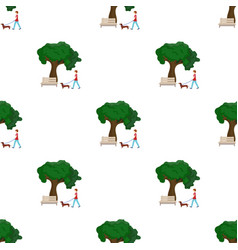 Tree and bench woman walks a pet in the park pet vector