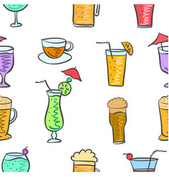 Various drink colorful pattern style vector