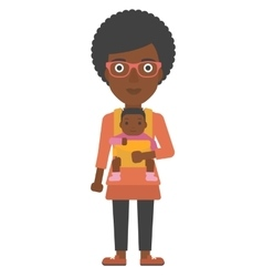 Woman holding baby in sling vector