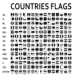 Alphabetically sorted monochrome or black flags of vector