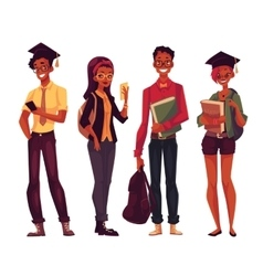 Group of college university students with books vector