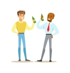 Happy Best Friends Having A Beer After Work Part vector image