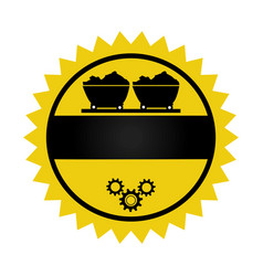 circular emblem with wagon of mining over rail and vector image