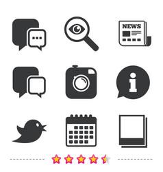 social media chat speech bubble photo frames vector image