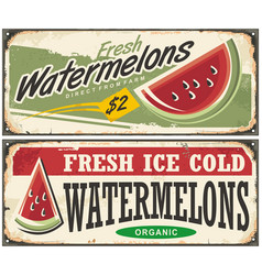 Watermelons retro advertisement vector
