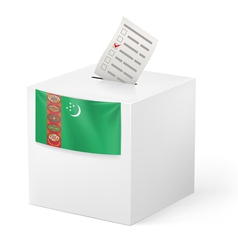 Ballot box with votng paper turkmenistan vector