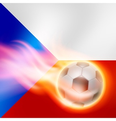Burning football on czech republic flag background vector