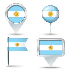 Map pins with flag of argentina vector