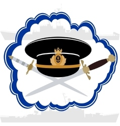 Officers cap russian navy officer and daggers vector