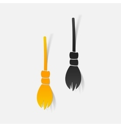 Realistic design element witch broom vector