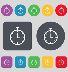 Stopwatch icon sign a set of 12 colored buttons vector