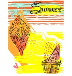 Hand drawn textured ice cream summer card vector image