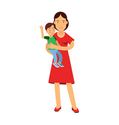 beautiful young brunette woman holding son in her vector image vector image