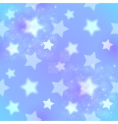 Blue blurred stars abstract seamless pattern vector image