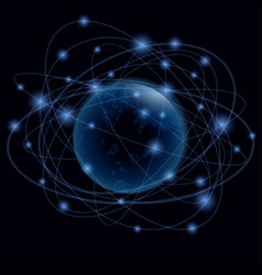 blue planet in the web of satellite orbits vector image
