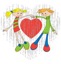 Cartoon girl and boy vector