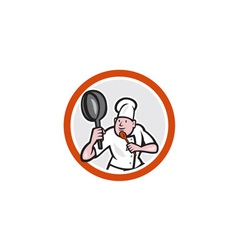 Chef cook holding frying pan retro vector