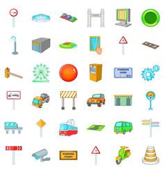 City location icons set cartoon style vector
