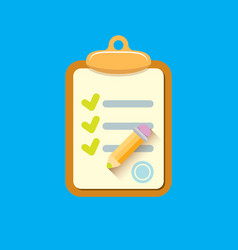 Clipboard icon with checkmarks and pencil vector