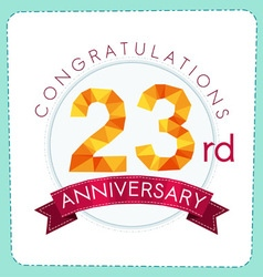 Colorful polygonal anniversary logo 3 023 vector
