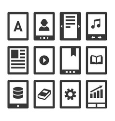 digital e-book reader icons set vector image vector image